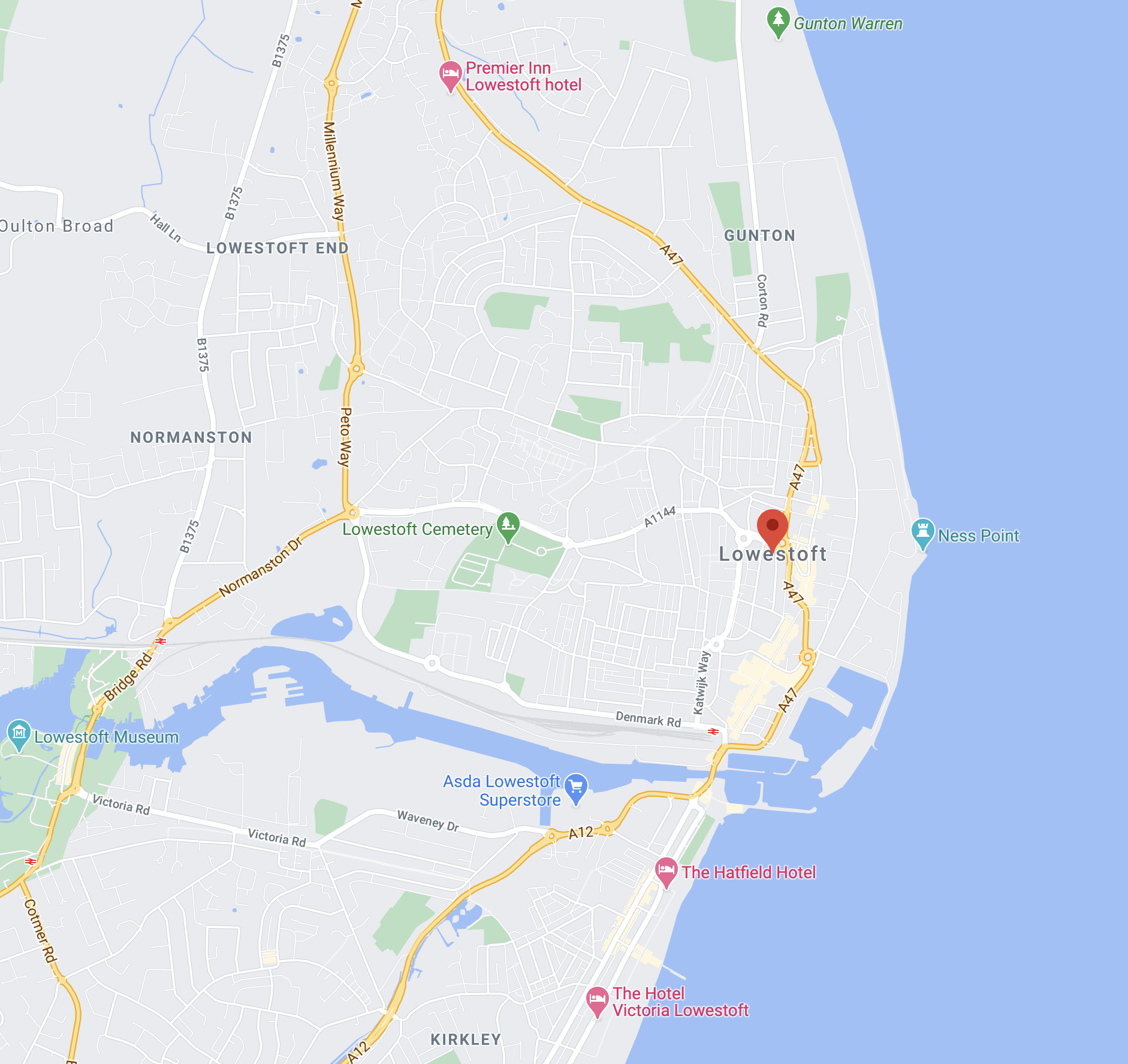 Map of Lowestoft